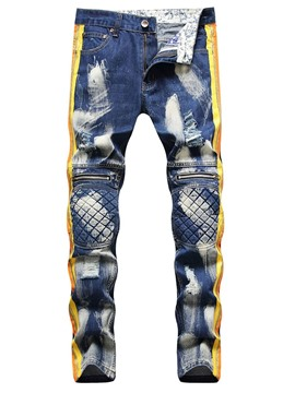 Ericdress Color Block Patchwork Straight Herren Hip Hop Reißverschluss Jeans