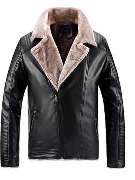 Ericdress Standard Lapel Plain Men's Slim European Leather Jacket