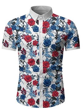Ericdress Print Casual Floral Single-Breasted Men's Shirt