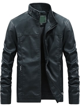 Ericdress Stand Collar Plain Standard Zipper Men's Slim Leather Jacket