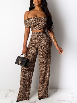 Ericdress Leopard T-Shirt Fashion Off Shoulder Pullover Women's Two Piece Sets