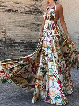Ericdress Print Sleeveless Floor-Length Spring Expansion Women's Dress