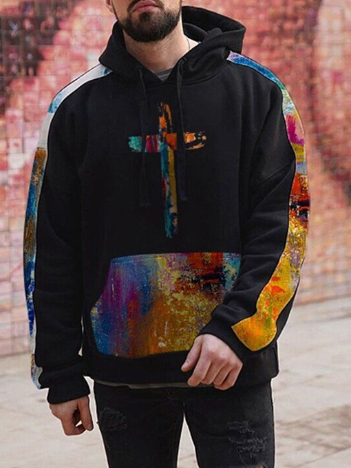 Ericdress Print Color Block Men's Pullover Loose Hooded
