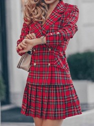 Ericdress Plaid Skirt Button Double-Breasted Pleated Womens Two Piece Sets