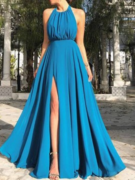 Ericdress Sleeveless Split Floor-Length Fashion Plain Women's Dress