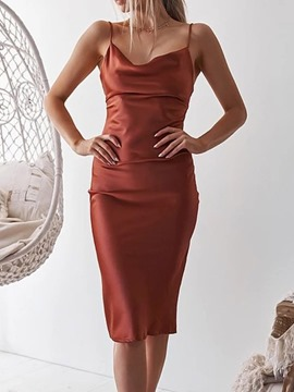 Ericdress Sleeveless Knee-Length Backless Plain Bodycon Dress