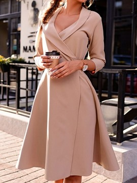Ericdress Knee-Length Three-Quarter Sleeve Fall Fashion Women's Dress