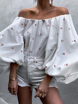 Ericdress Off Shoulder Floral Lantern Sleeve Nine Points Sleeve Standard Women's Blouse