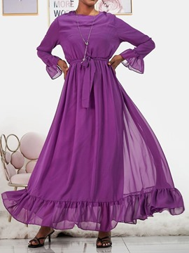 Ericdress Lace-Up Floor-Length Long Sleeve Plain Expansion Women's Dress