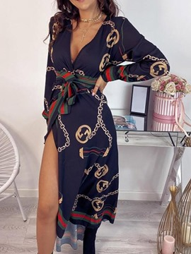 Ericdress Ankle-Length Lace-Up V-Neck Fall Geometric Dress