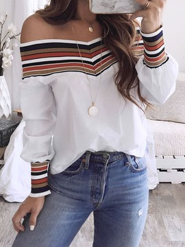 Ericdress Stripe Patchwork Long Sleeve Standard Women's Blouse