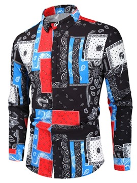 Ericdress Print Casual Lapel Fall Men's Slim Shirt
