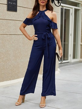 Ericdress Plain Western Full Length High Waist Women's Jumpsuit