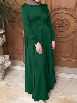 Ericdress Long Sleeve Patchwork Floor-Length Fall Muslim Women's Dress