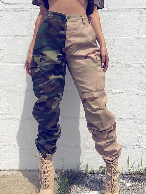 Ericdress Cargo Pants Loose Print Camouflage Overall Full Length Women's Pants