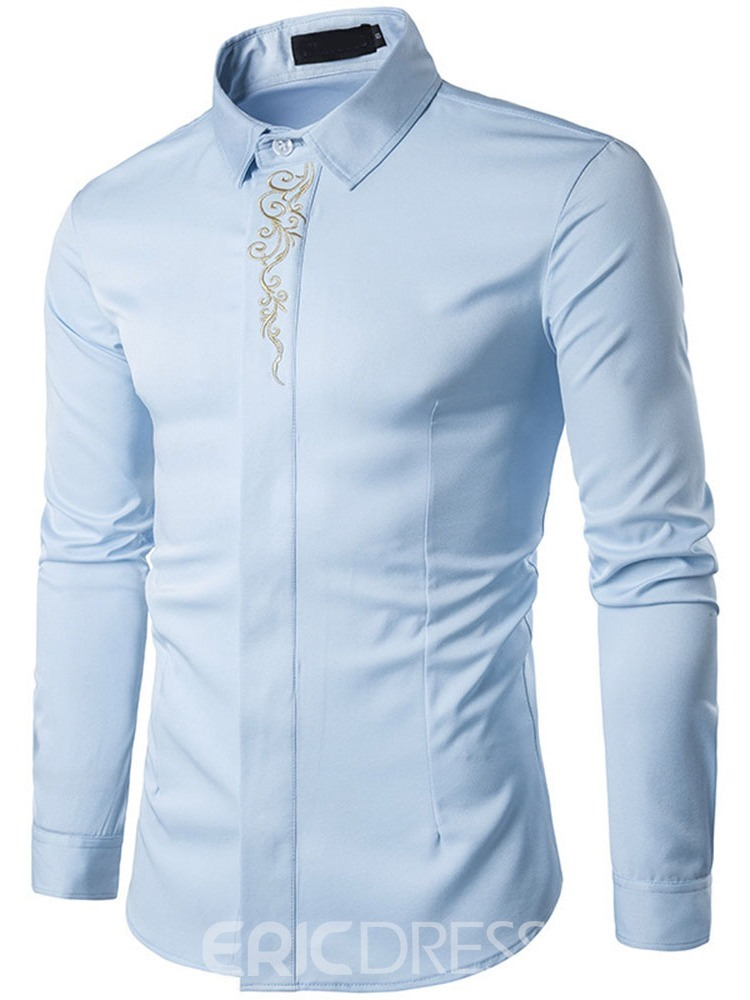 Ericdress Floral Lapel Embroidery Men's Slim Fall Shirt