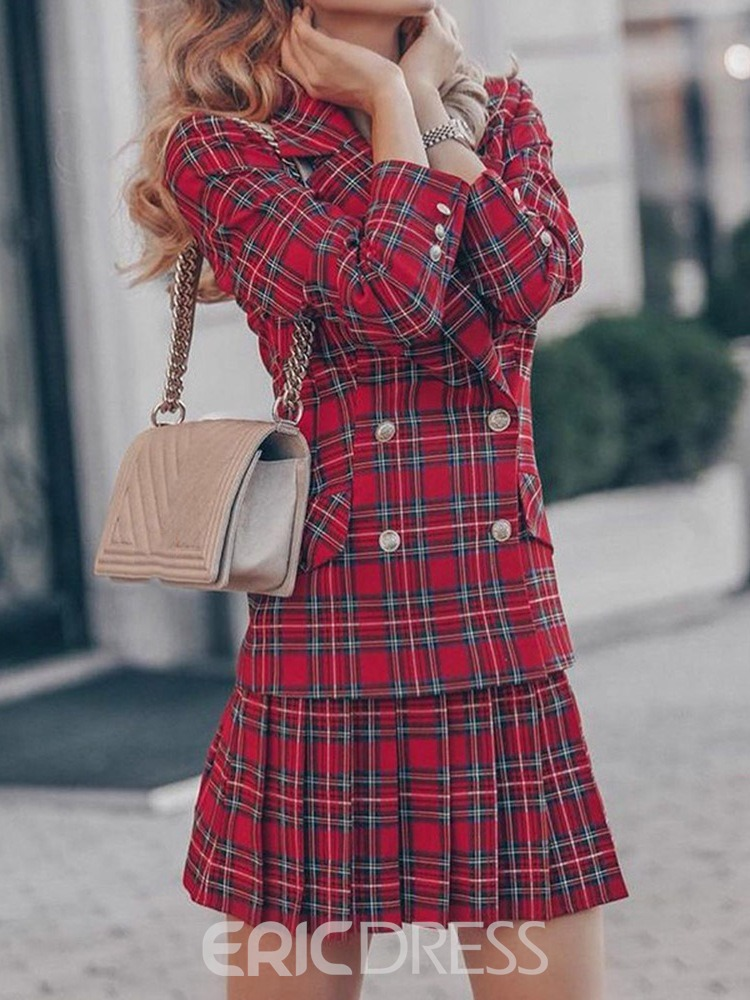 Ericdress Plaid Skirt Button Double-Breasted Pleated Women's Two Piece Sets