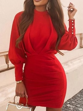 Ericdress Above Knee Pleated Nine Points Sleeve Plain Bodycon Dress