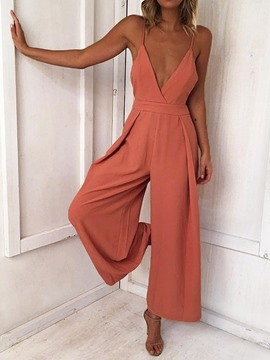 Ericdress Bowknot Plain Full Length Women's Slim Wide Legs Jumpsuit