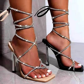 Ericdress Stiletto Heel Square Toe Lace-Up High-Cut Upper Sandals