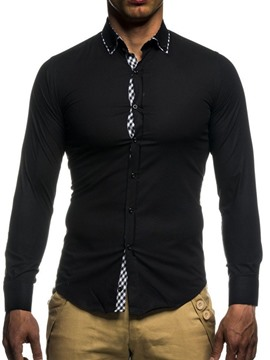 Ericdress Lapel Patchwork Casual Single-Breasted Men's Slim Shirt