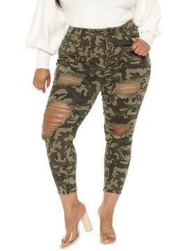 Ericdress Skinny Hole Camouflage Pencil Pants Ankle Length Women's Pants Plus Size