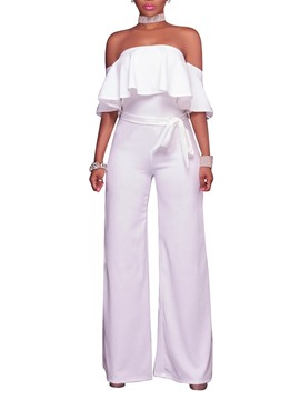 Ericdress Full Length Plain Western Wide Legs Women's Slim Jumpsuit