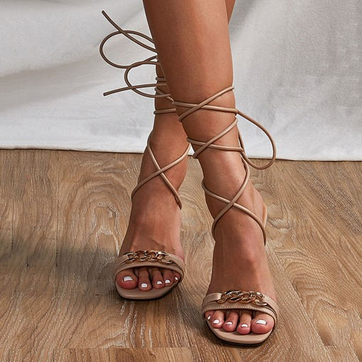 Ericdress Lace-Up Stiletto Heel Open Toe Casual Sandals