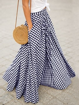Ericdress Patchwork Floor-Length Plaid Western Women's Skirt
