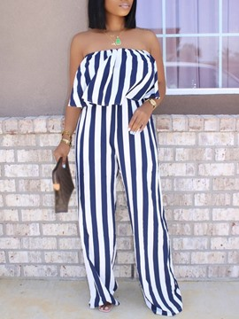 Ericdress Print Full Length Stripe Loose Straight Women's Jumpsuit