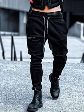 Ericdress Color Block Pencil Pants Patchwork Lace-Up Mid Waist Men's Casual Pants