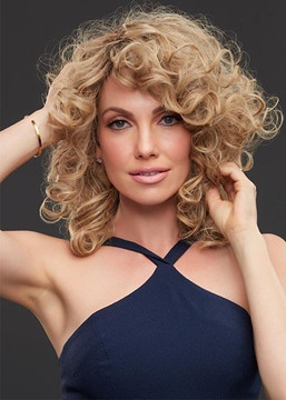 Ericdress Medium Curly Hairstyle Women's Curly Human Hair Capless Wigs 18Inch