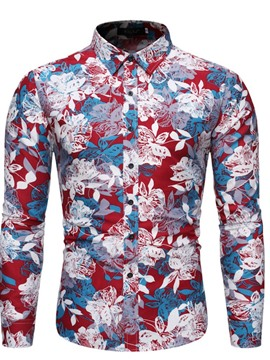 Ericdress Print Lapel Casual Single-Breasted Spring Men's Shirt