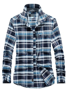 Ericdress Men's Lapel Plaid Casual Single-Breasted Shirt