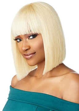 Ericdress 613 Blonde Color Short Bob Hairstyle Women's Straight Human Hair Capless Wigs With Bangs 10Inch