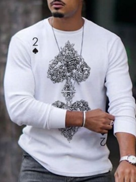 Ericdress Print Casual Round Neck Men's Pullover Long Sleeve T-shirt
