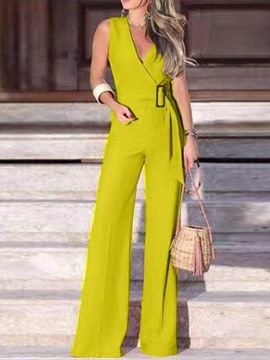 Ericdress Plain Patchwork Office Lady High Waist Women's Slim Jumpsuit