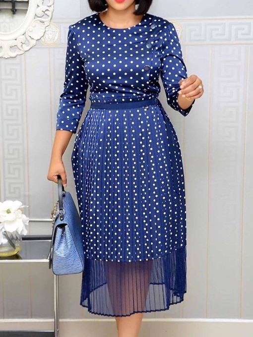 Ericdress Nine Points Sleeve Mid-Calf Round Neck A-Line Polka Women's Dots Dress