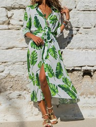 Ericdress Mid-Calf Nine Points Sleeve Lace-Up A-Line Floral Maxi Dress Beach Dresses For Women