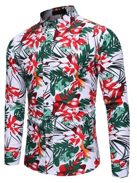 Ericdress Casual Print Floral Spring Single-Breasted Men's Shirt