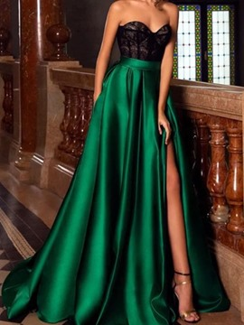 Ericdress Sleeveless Split Floor-Length High Waist Color Block Women's Dress