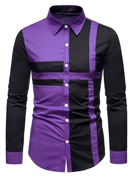 Ericdress Casual Patchwork Color Block Fall Single-Breasted Men's Shirt