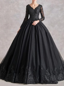 Ericdress Long Sleeves Floor-Length V-Neck Ball Gown Formal Dress 2020