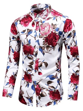 Ericdress Floral Lapel Print Fall Single-Breasted Men's Shirt