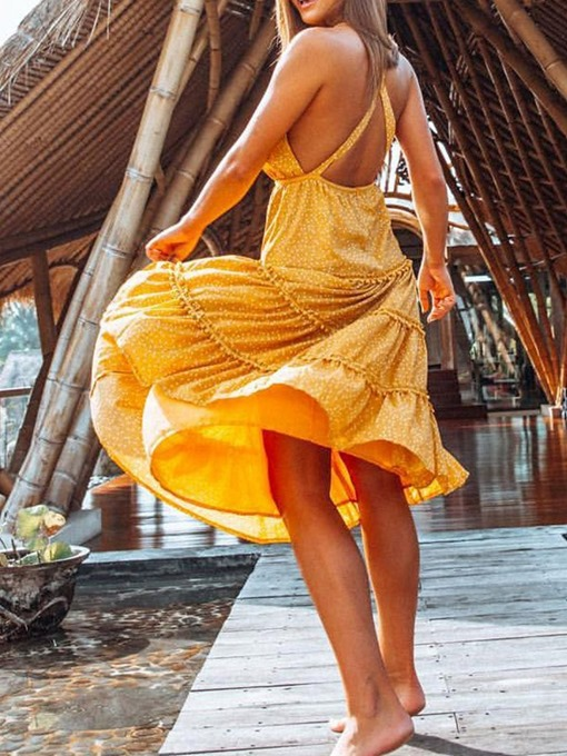 Ericdress Backless V-Neck Mid-Calf Travel Look Expansion Women's Dress