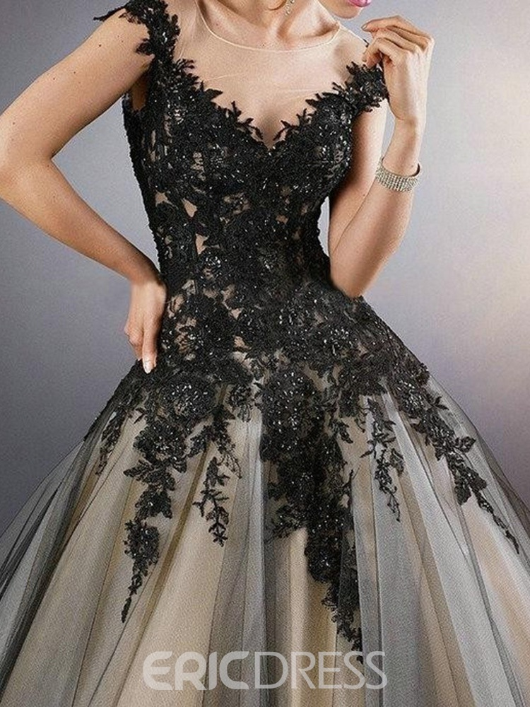 Ericdress Ball Gown Short Sleeves Scoop Embroidery Black Wedding Dress