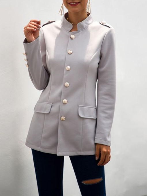 Ericdress Stand Collar Plain Long Sleeve Fall Regular Casual Women's Blazer