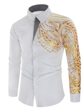 Ericdress Floral Lapel Print Men's Slim Single-Breasted Shirt