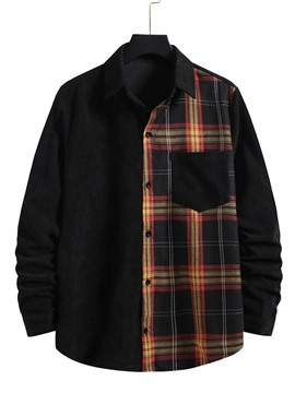 Ericdress Plaid Patchwork Casual Spring Single-Breasted Men's Shirt
