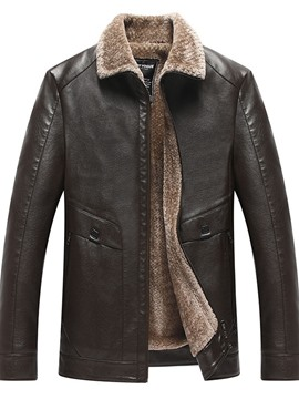 Ericdress Standard Plain Lapel Zipper Men's Winter Leather Jacket